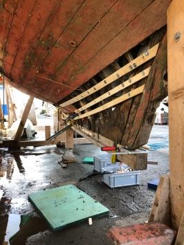 Die Fichten latten dürfen nicht zu steif und nicht zu beweglich sein, damit sie die Form vom Schiff behalten wenn die einzelnen Spannten und Rahmen darin einlaminiert werden.